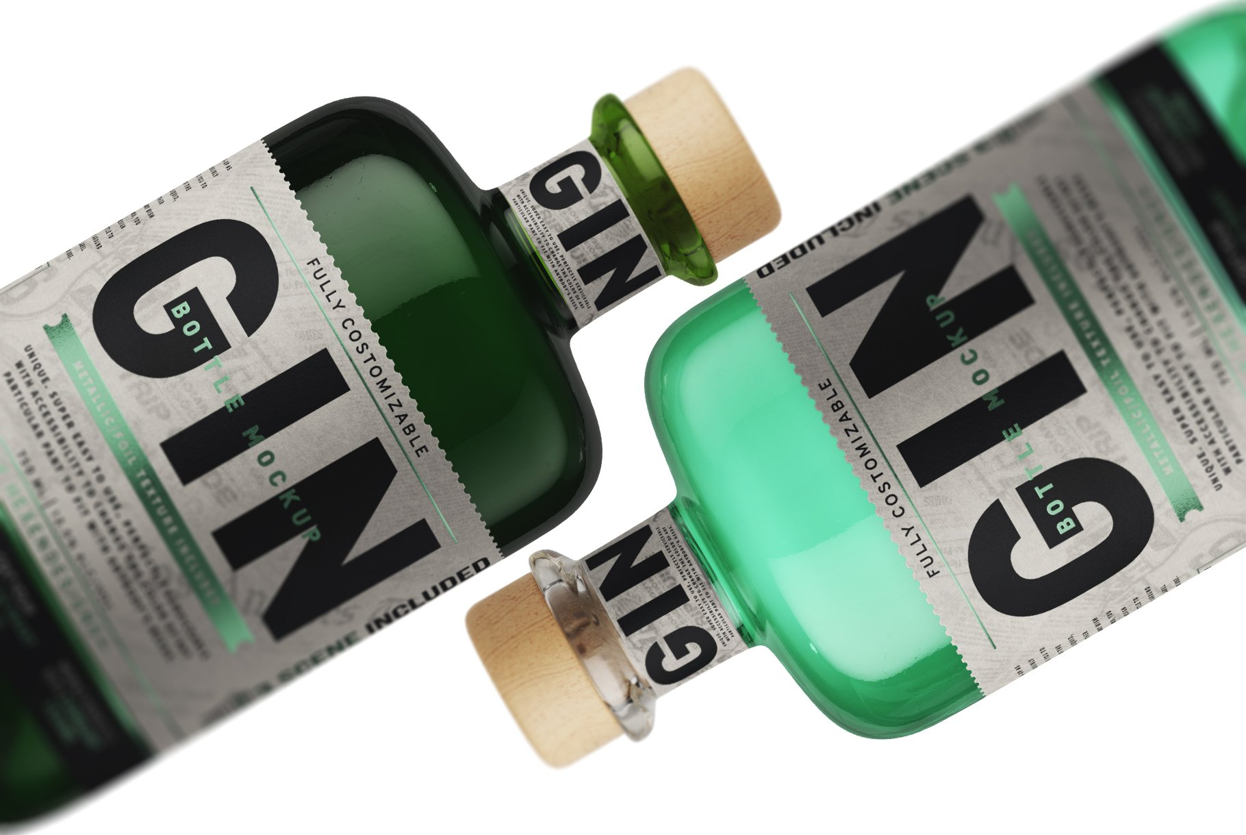 杜松子玻璃酒瓶标签设计展示样机模板 Gin Bottle Mockup插图(4)