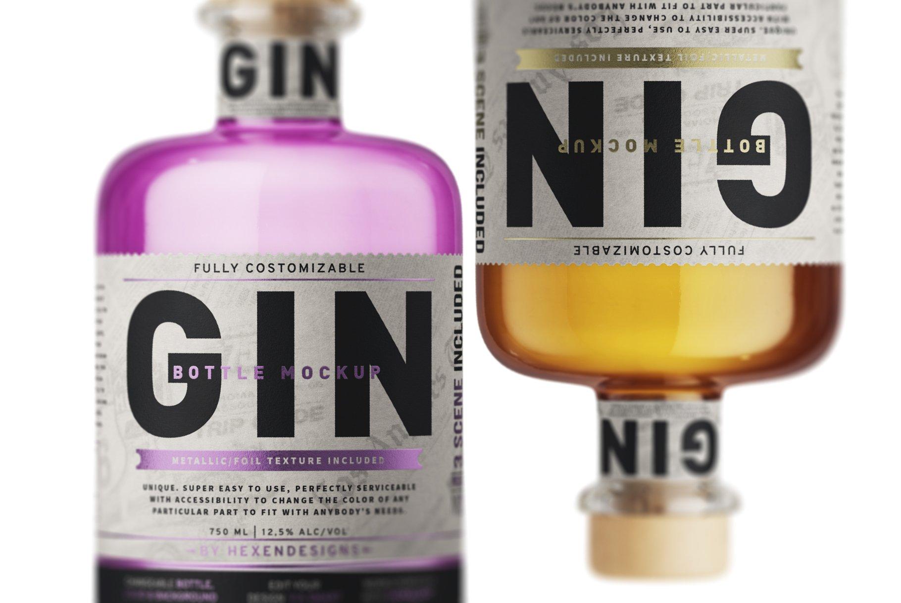 杜松子玻璃酒瓶标签设计展示样机模板 Gin Bottle Mockup插图(5)