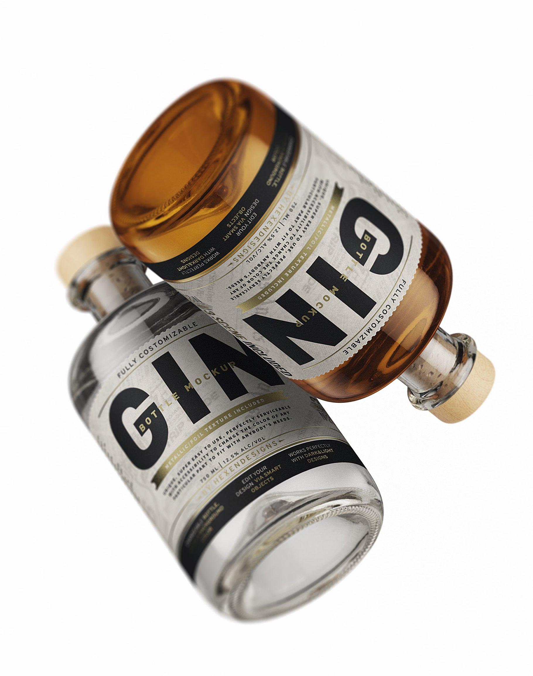 杜松子玻璃酒瓶标签设计展示样机模板 Gin Bottle Mockup插图(6)