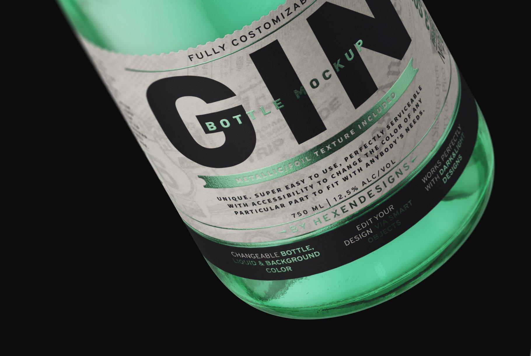 杜松子玻璃酒瓶标签设计展示样机模板 Gin Bottle Mockup插图(7)