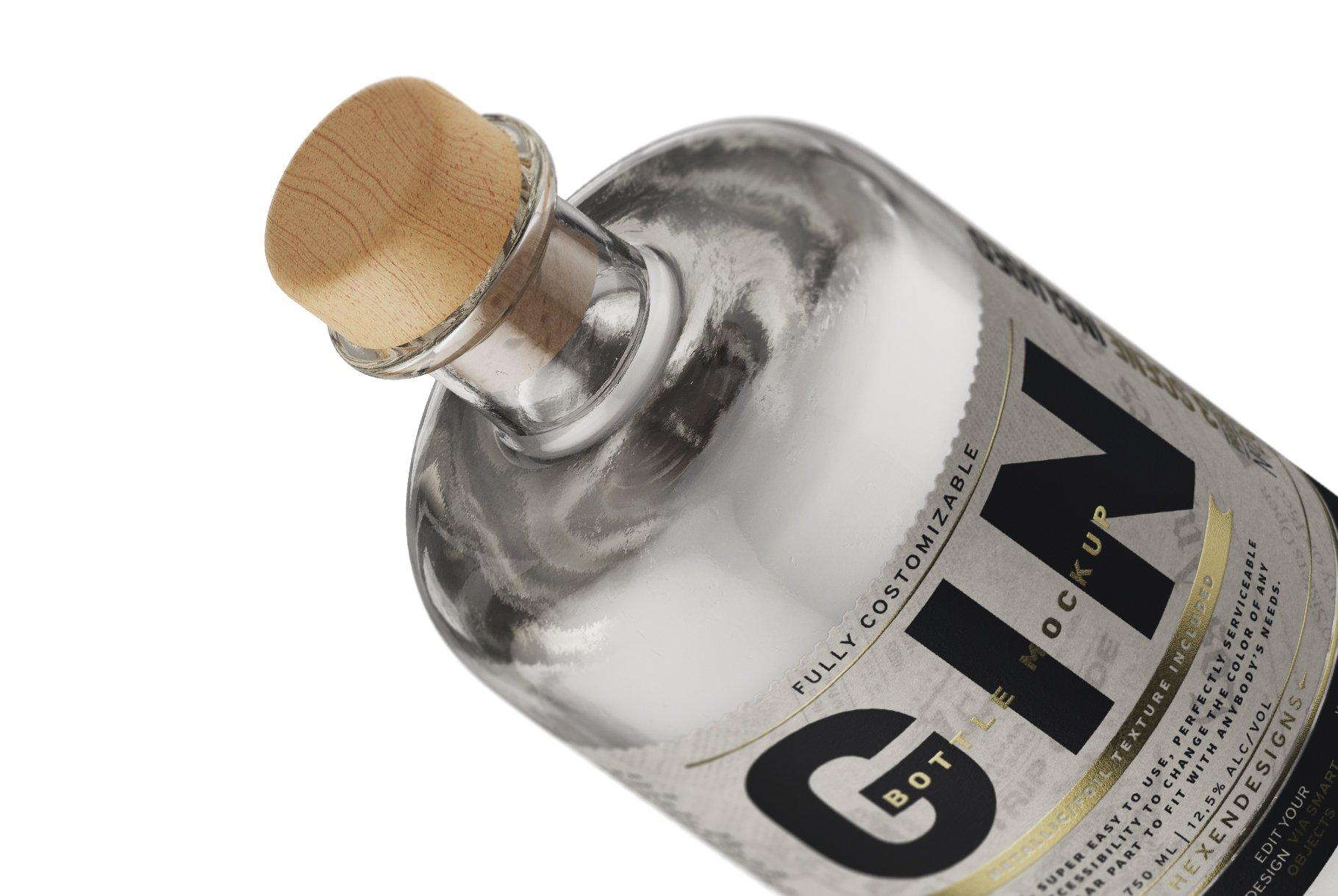 杜松子玻璃酒瓶标签设计展示样机模板 Gin Bottle Mockup插图(12)