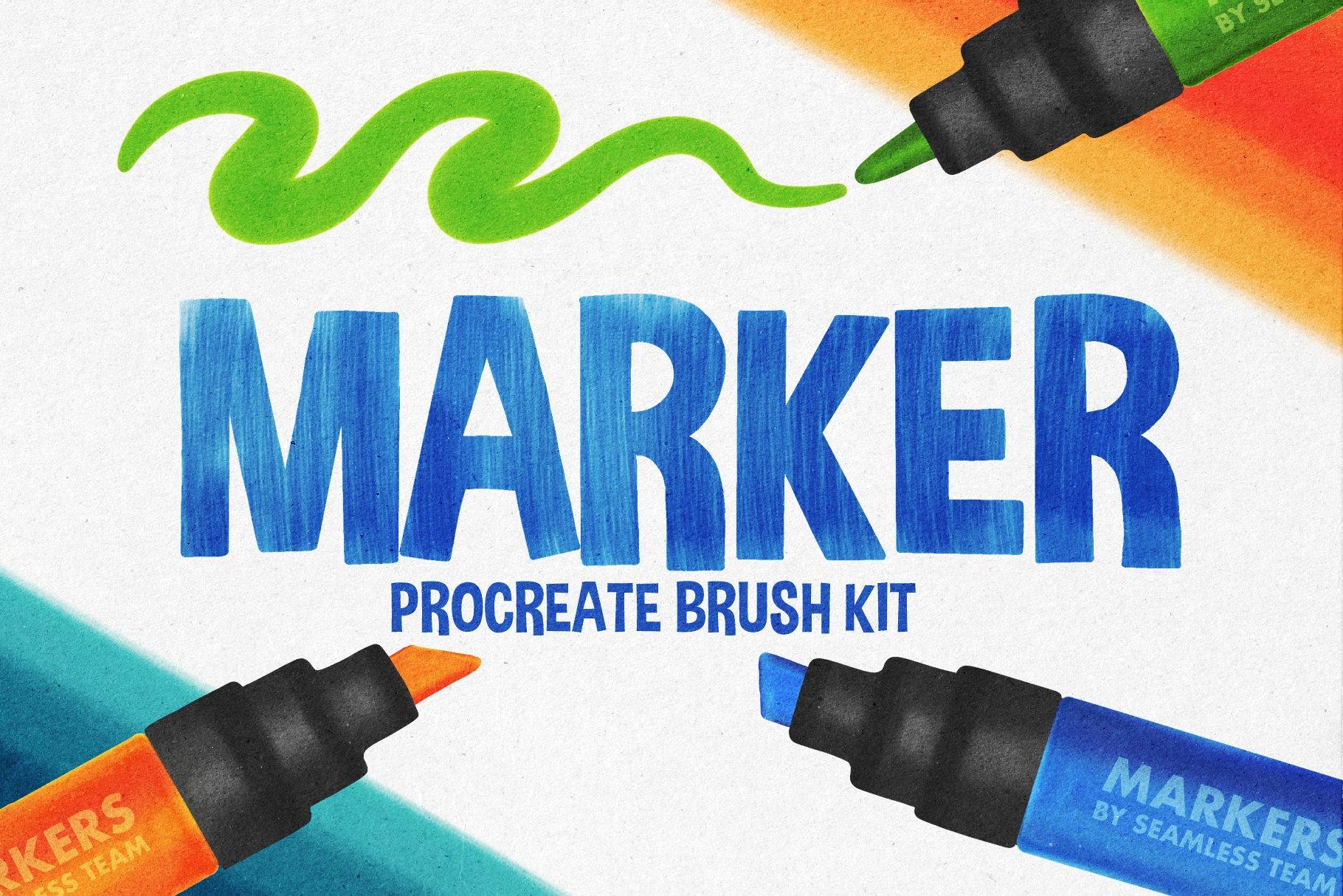 26款马克记号笔画笔Precreate笔刷素材 Marker Brushes For Procreate 5插图