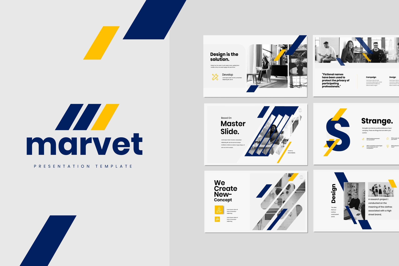 简约商务策划案图文排版演示文稿设计模板 Marvet – Business Powerpoint插图