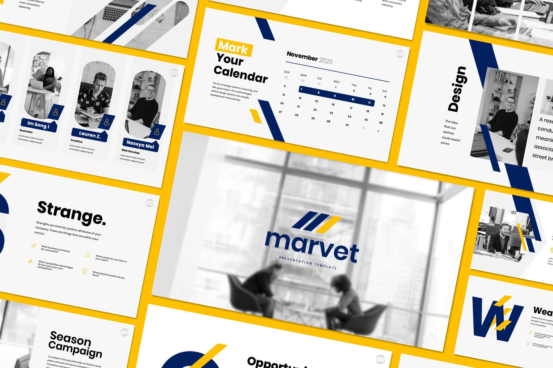 简约商务策划案图文排版演示文稿设计模板 Marvet – Business Powerpoint插图(1)