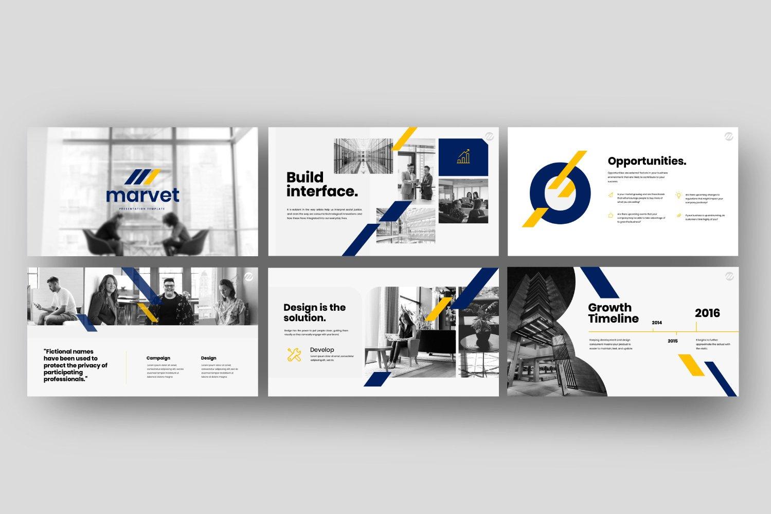 简约商务策划案图文排版演示文稿设计模板 Marvet – Business Powerpoint插图(2)