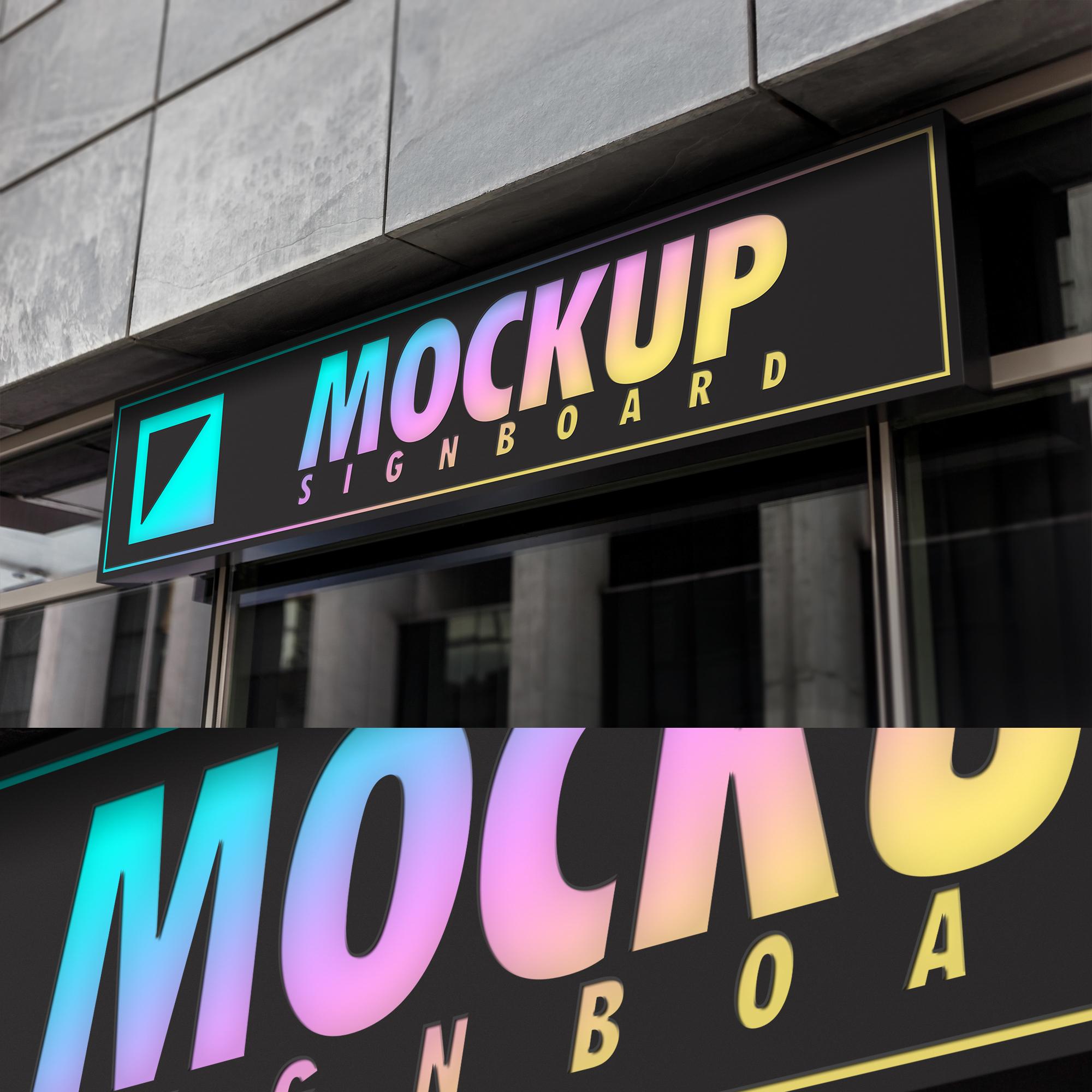 6款霓虹灯效果招牌设计展示智能贴图样机 6 Neon Signboard Mockups插图(1)