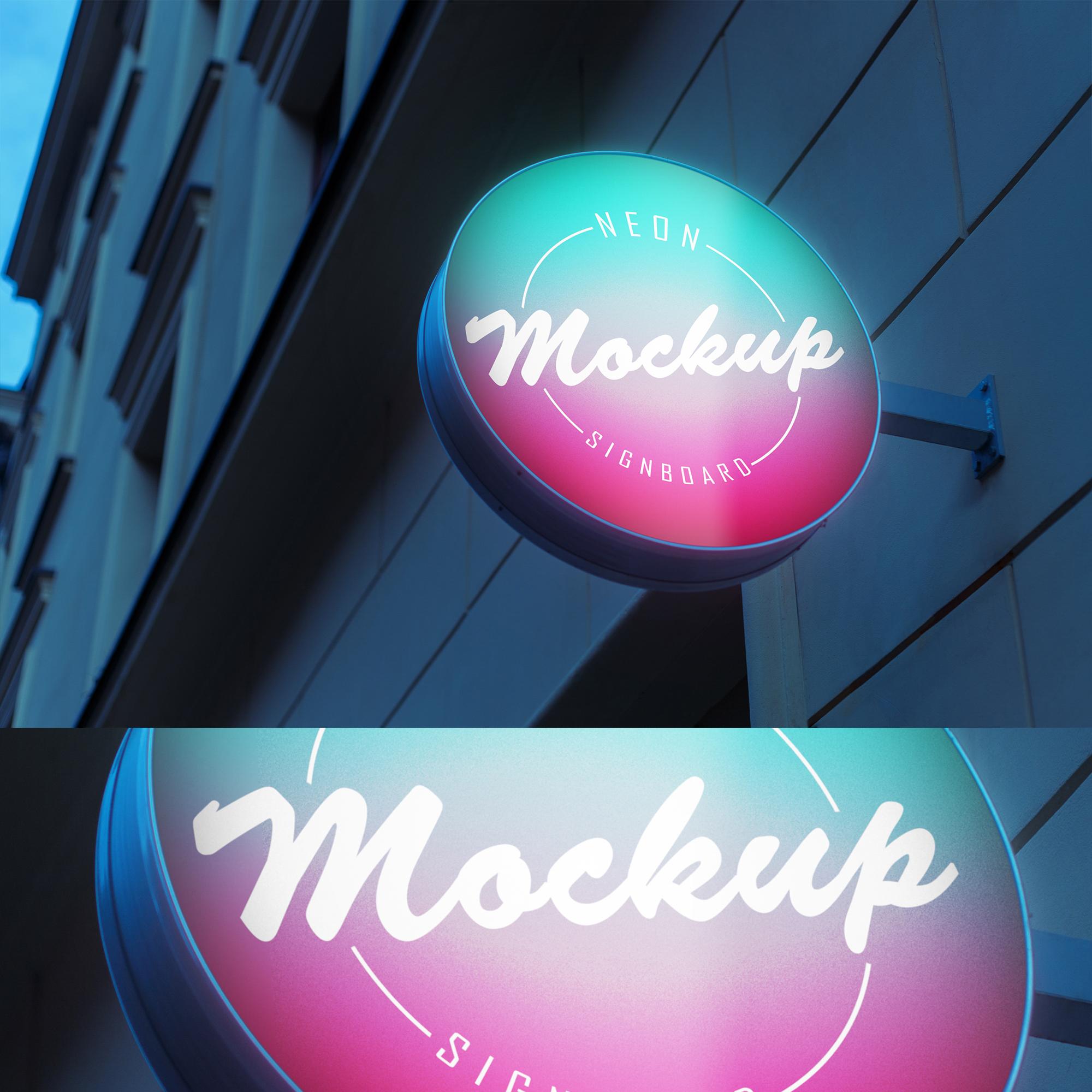 6款霓虹灯效果招牌设计展示智能贴图样机 6 Neon Signboard Mockups插图(4)