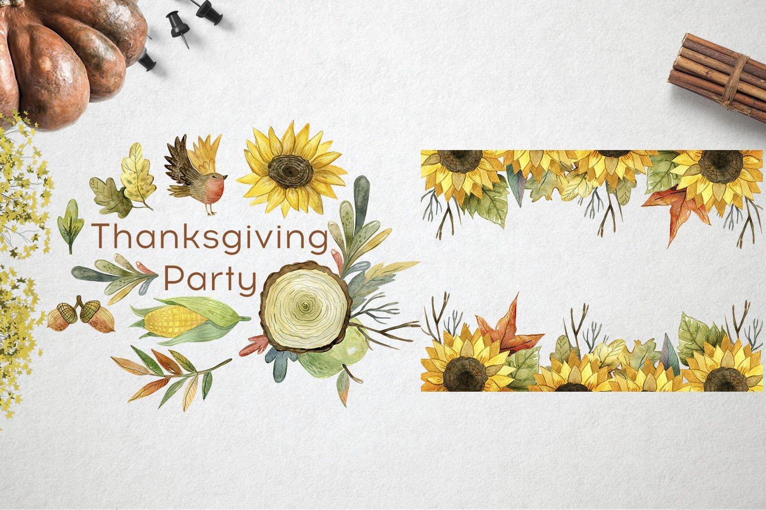 复古手绘秋季感恩节元素水彩插图素材 Watercolor Thanksgiving Day插图(2)