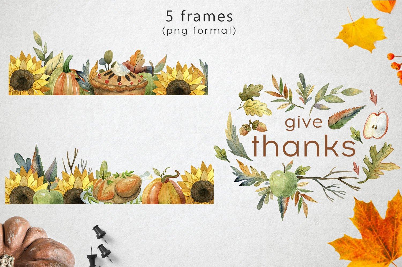 复古手绘秋季感恩节元素水彩插图素材 Watercolor Thanksgiving Day插图(3)