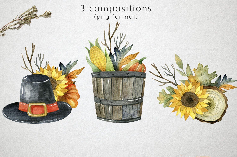 复古手绘秋季感恩节元素水彩插图素材 Watercolor Thanksgiving Day插图(4)