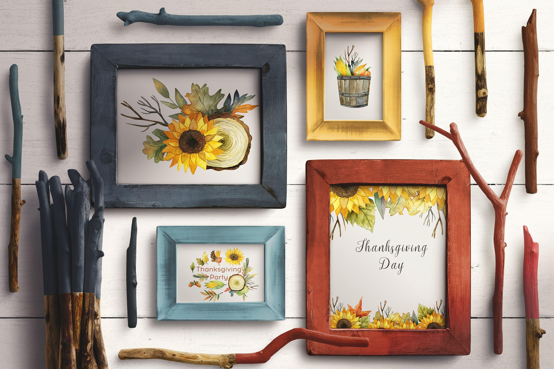复古手绘秋季感恩节元素水彩插图素材 Watercolor Thanksgiving Day插图(7)