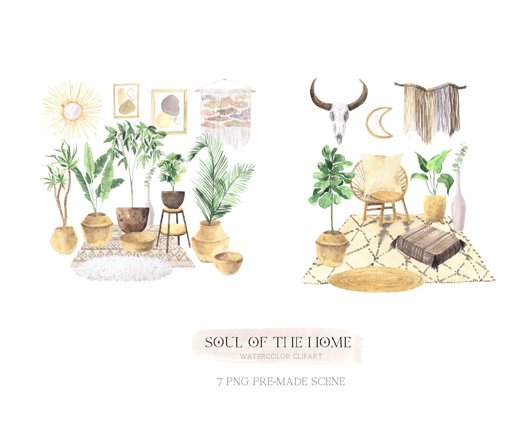 现代新潮手绘波西米亚风室内盆栽植物水彩剪贴画PNG免抠图片素材 Boho Home Interior Clipart插图(9)