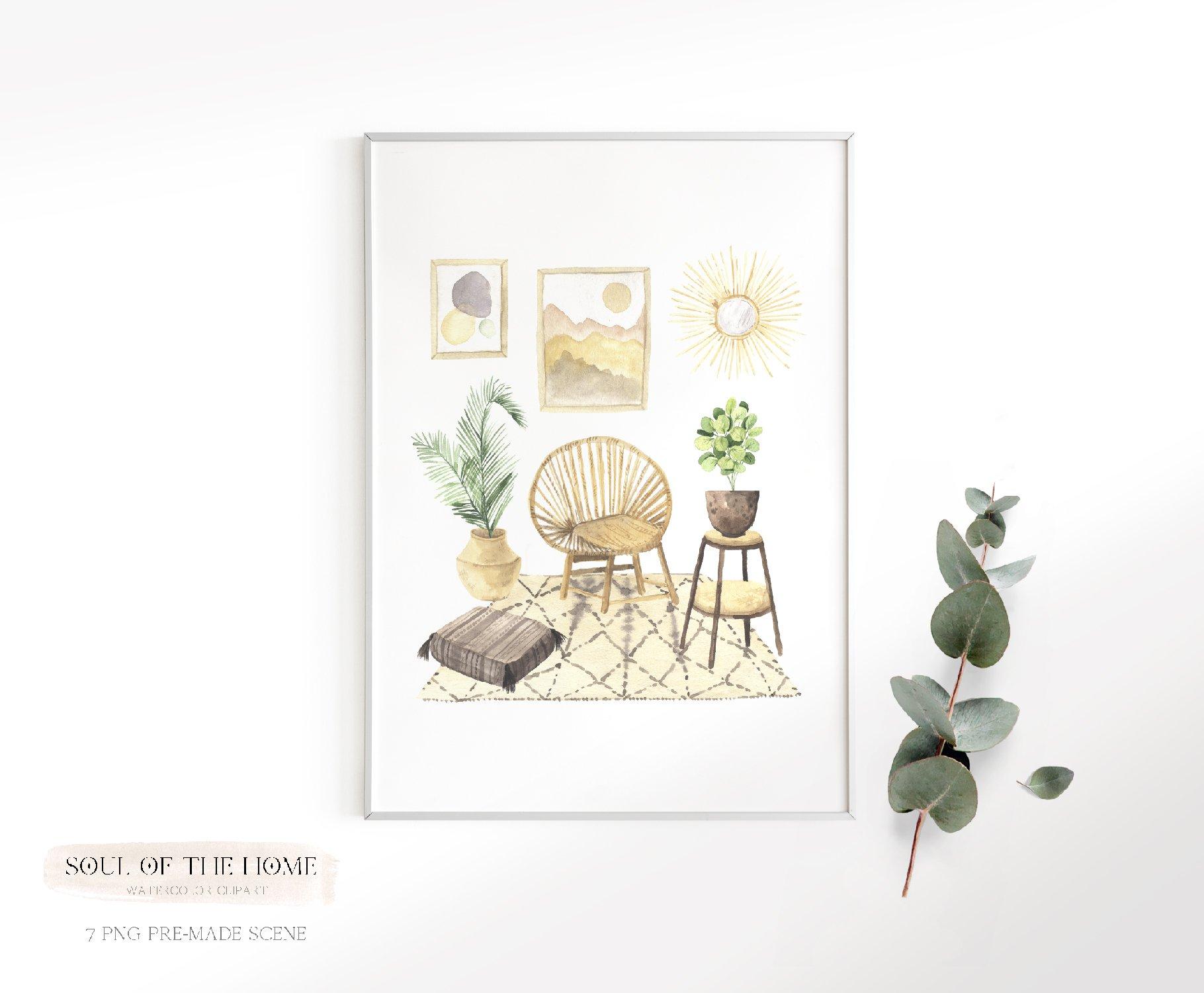 现代新潮手绘波西米亚风室内盆栽植物水彩剪贴画PNG免抠图片素材 Boho Home Interior Clipart插图(12)