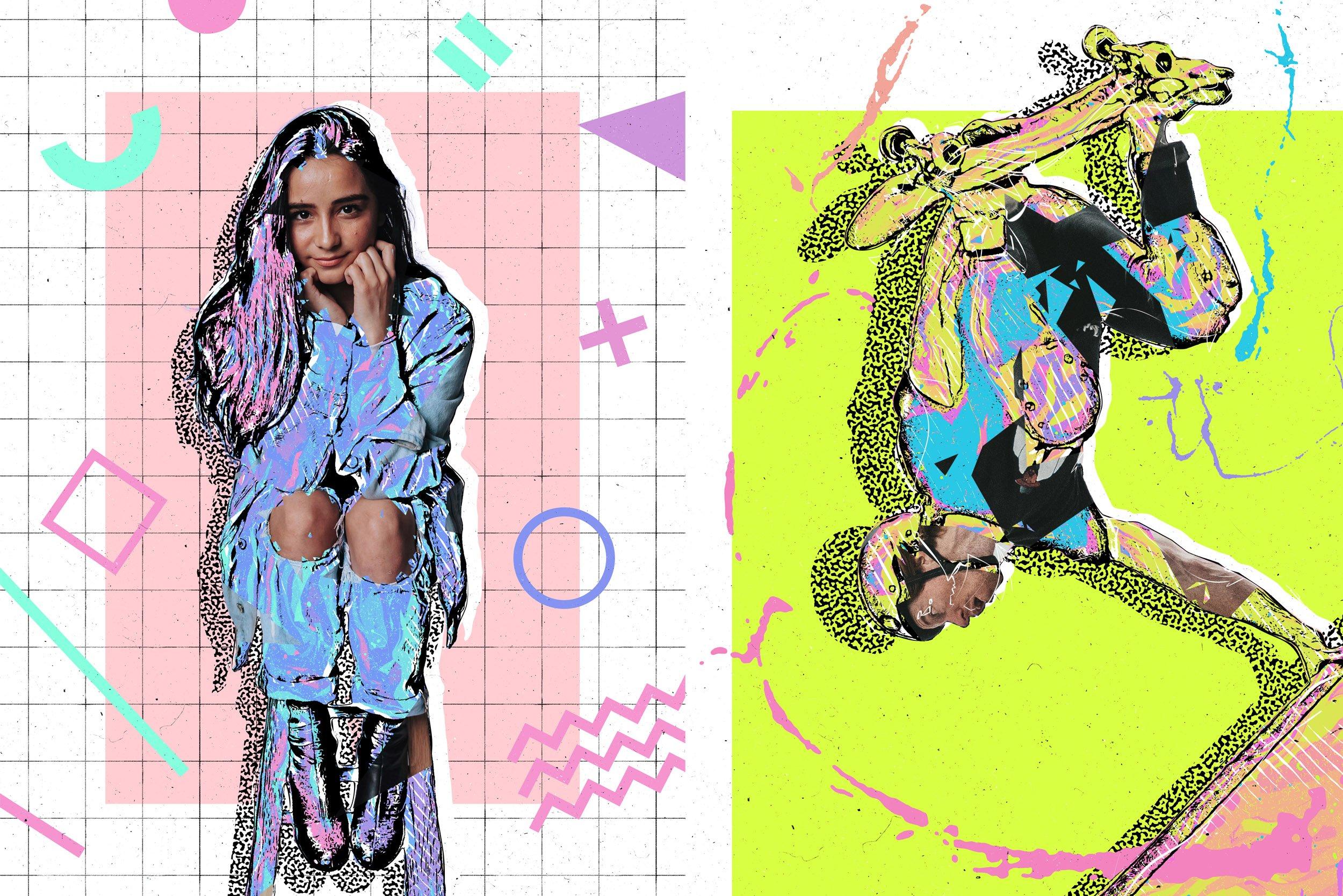 炫酷90年代多彩平面构图海报设计PS动作模板 Back To The 90s Photoshop Action插图2