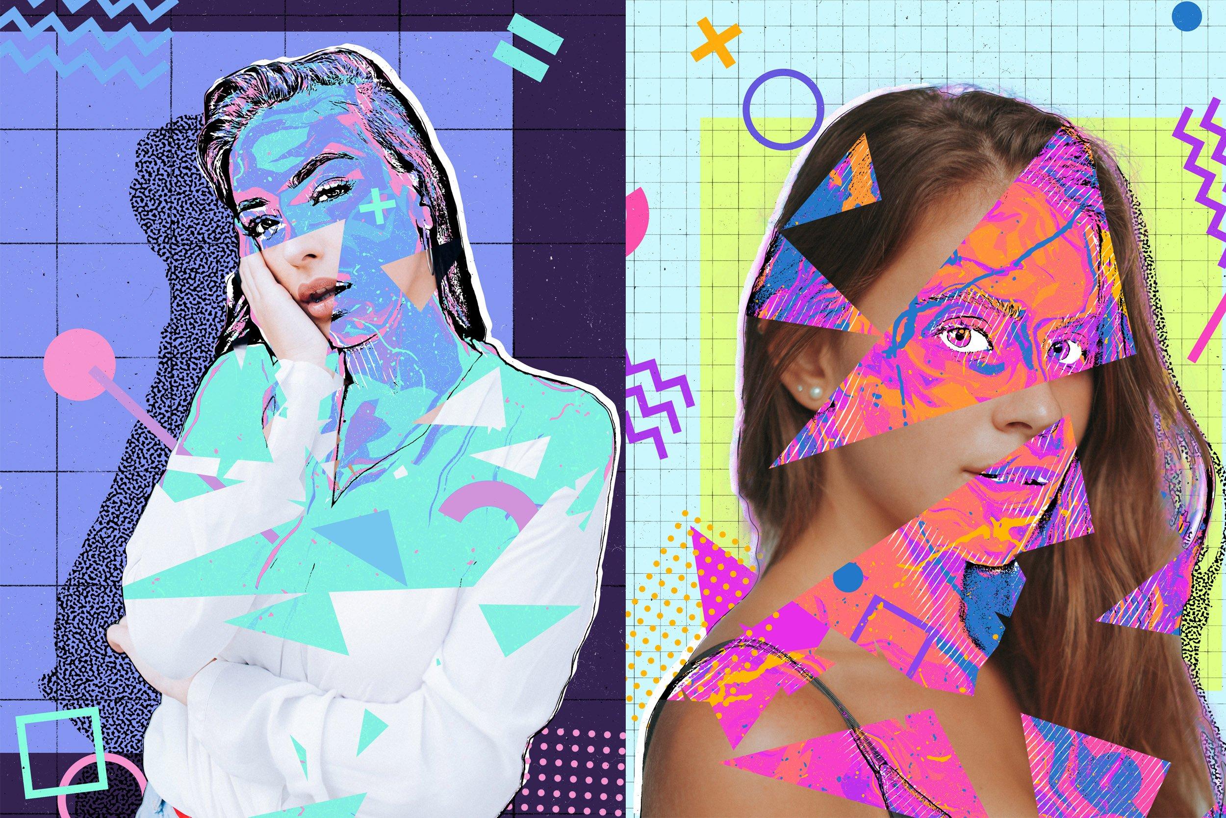 炫酷90年代多彩平面构图海报设计PS动作模板 Back To The 90s Photoshop Action插图5