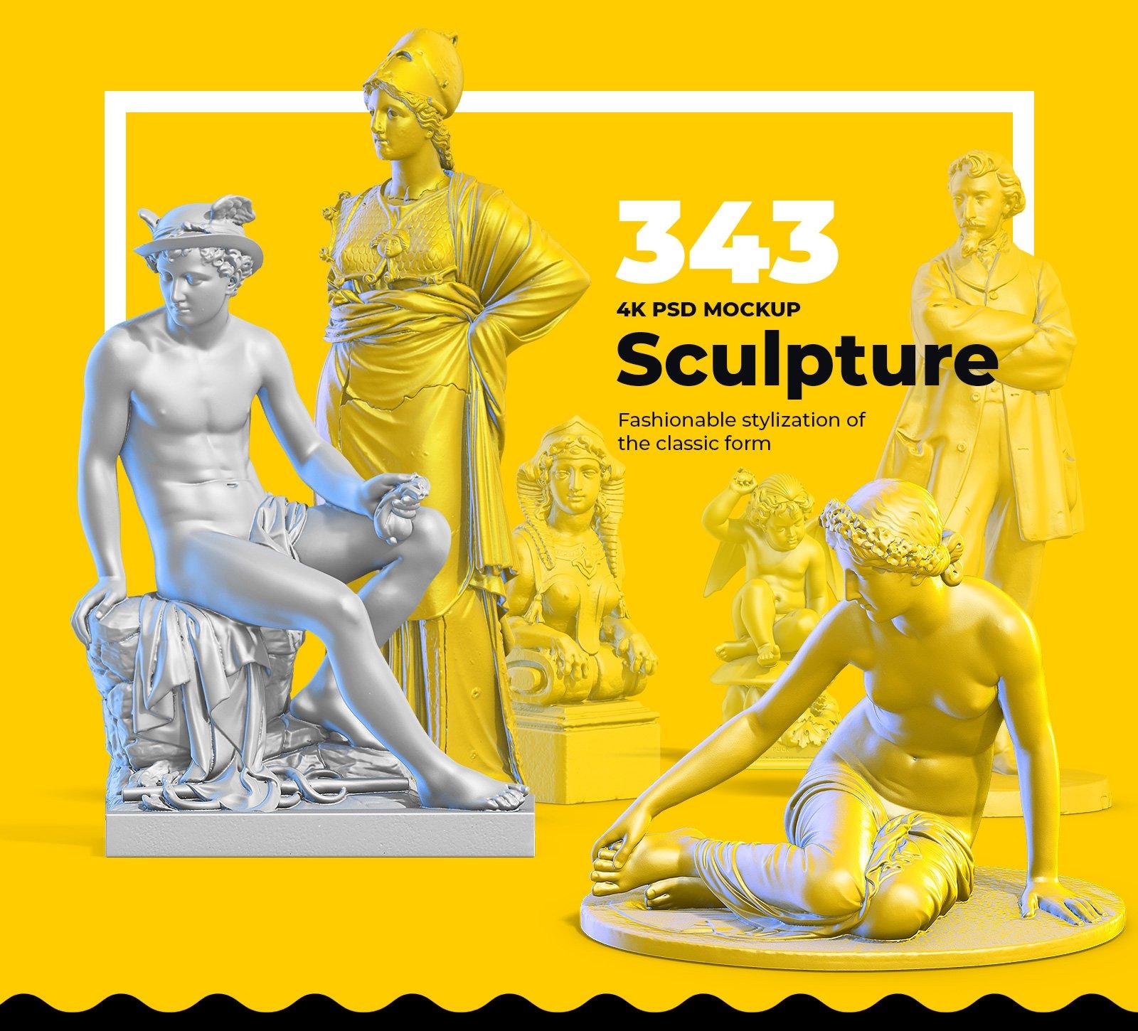 [淘宝购买] 343款复古蒸汽波艺术人物动物石膏雕像模型PS素材源文件 343 Sculptures Mockup插图