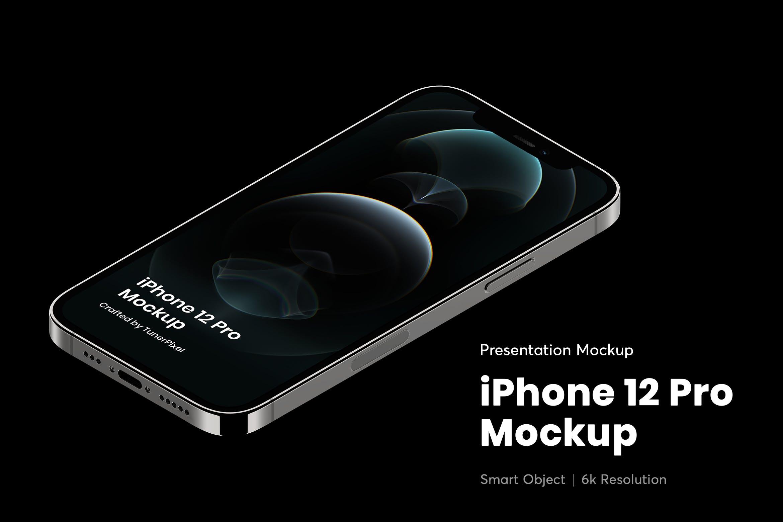 简约苹果手机iPhone 12 Pro屏幕演示样机模板 iPhone 12 Pro Mockup插图