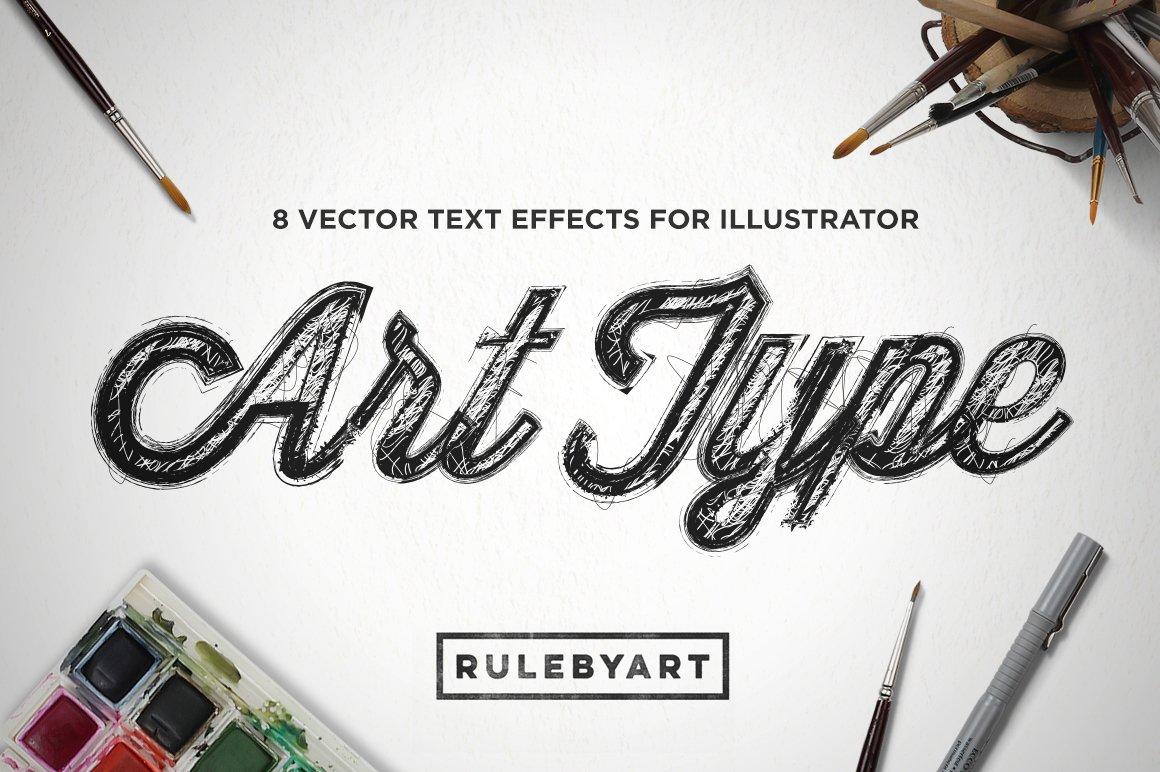 8款潮流手绘素描字体效果AI矢量样式模板 ArtType – Vector Type Effect插图