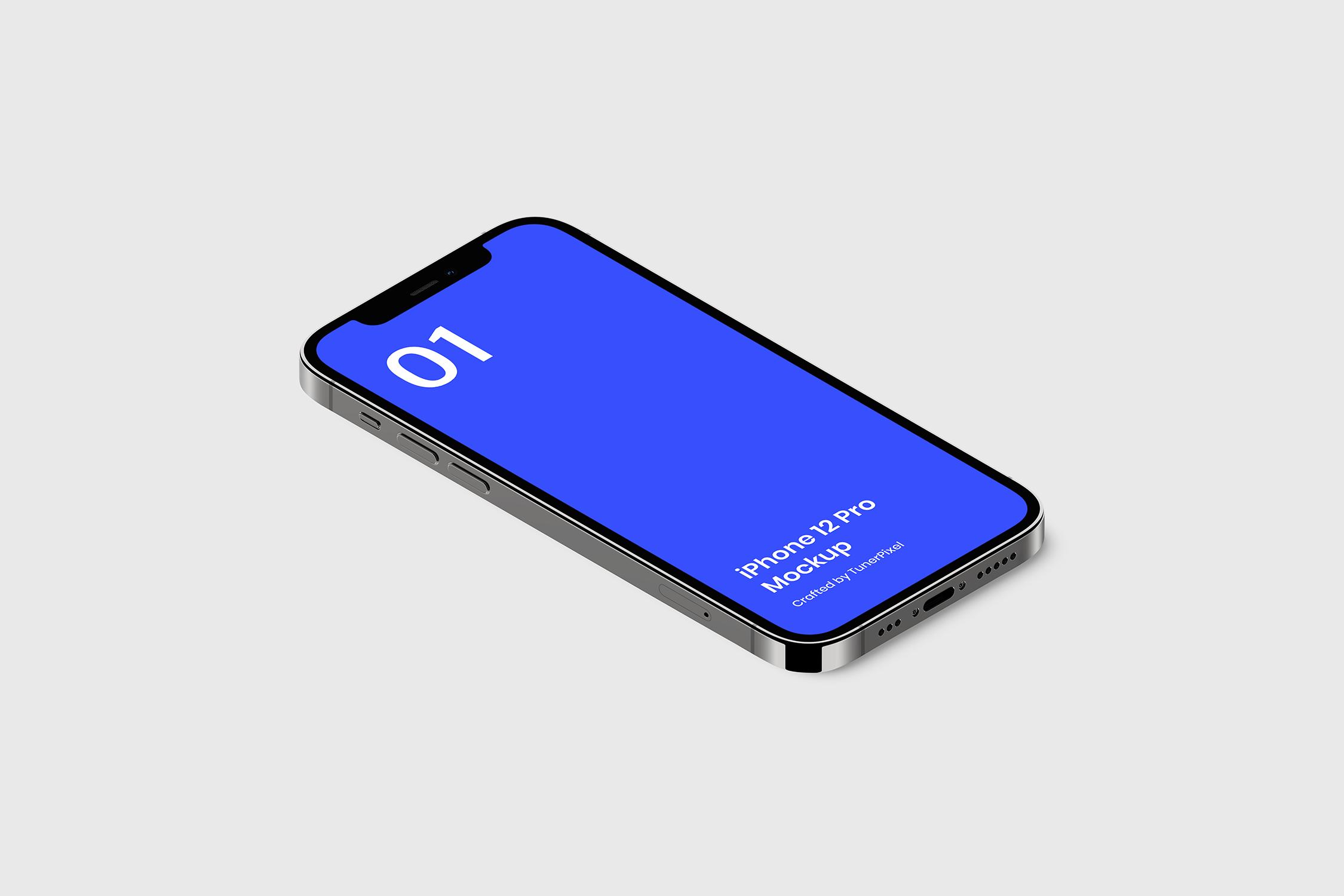 简约苹果手机iPhone 12 Pro屏幕演示样机模板 iPhone 12 Pro Mockup插图1