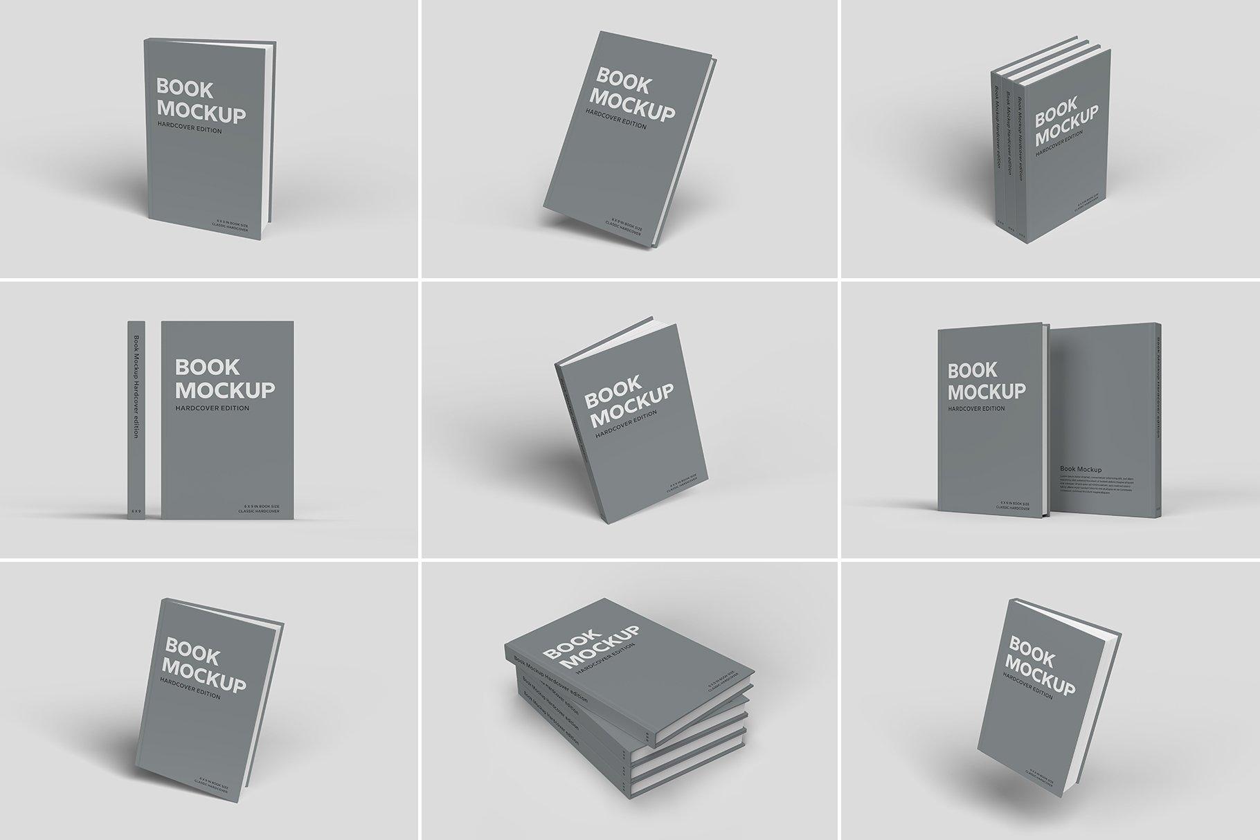 精装书硬皮书画册设计展示贴图样机 Hardcover Book Mockup插图