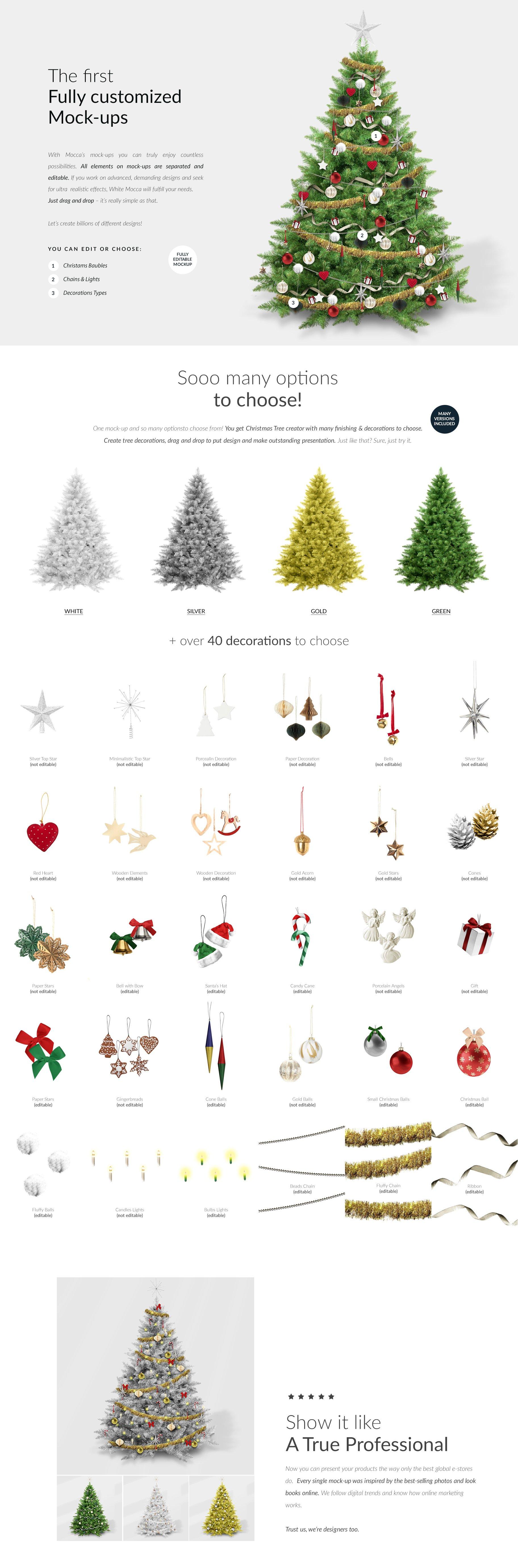 时尚圣诞树场景创造者装饰图案PSD素材 Christmas Tree Creator Mockup插图(1)