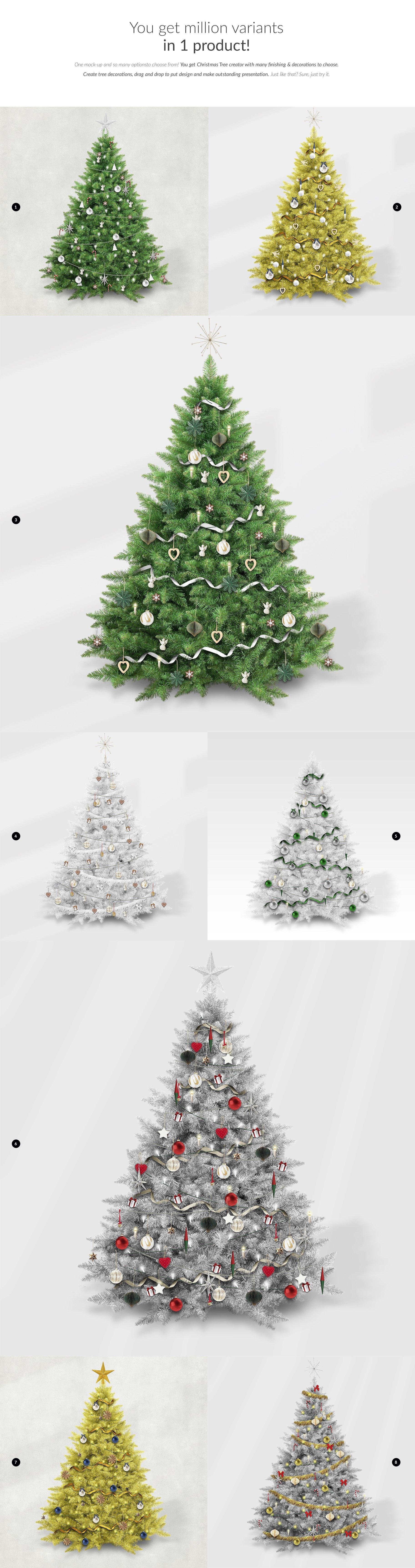时尚圣诞树场景创造者装饰图案PSD素材 Christmas Tree Creator Mockup插图(2)