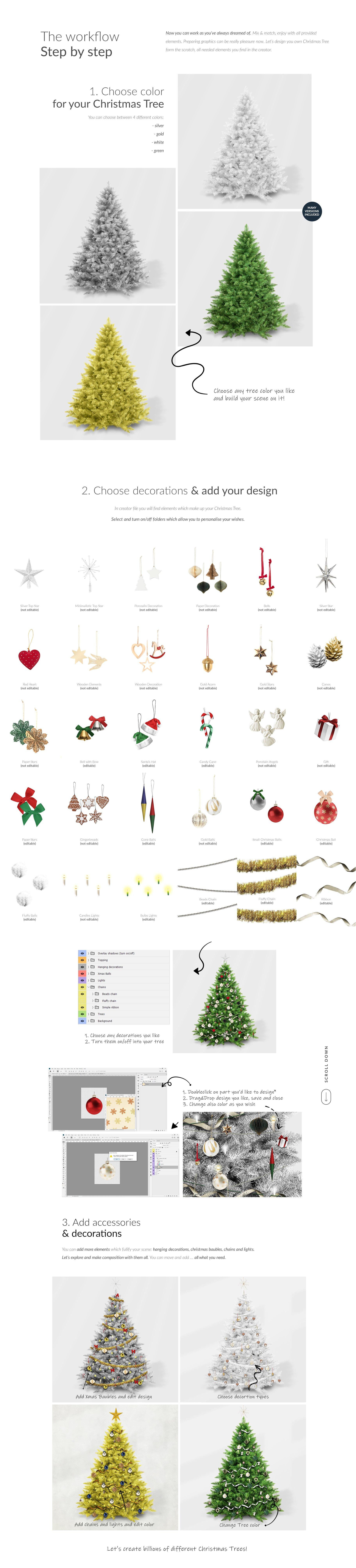 时尚圣诞树场景创造者装饰图案PSD素材 Christmas Tree Creator Mockup插图(3)