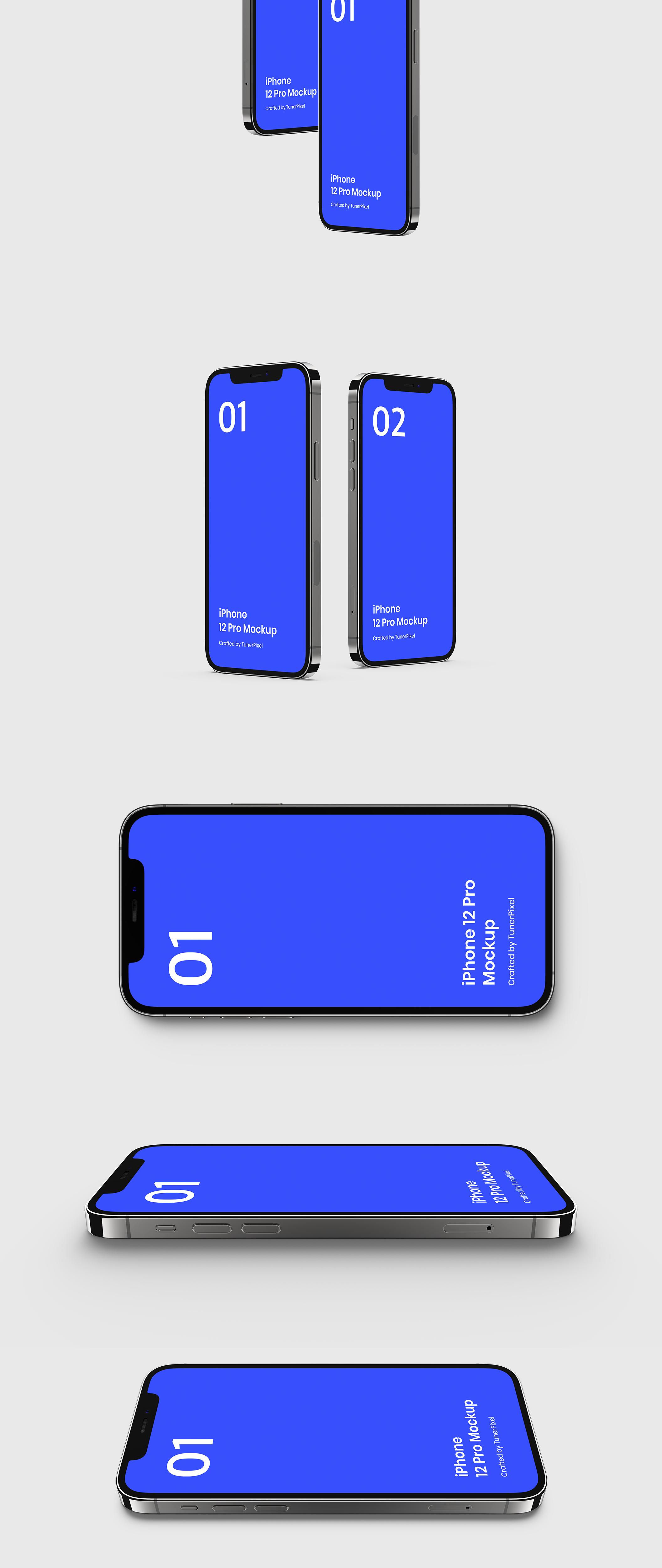 20款应用程序APP设计苹果手机iPhone 12 Pro屏幕演示样机模板 iPhone 12 Pro Mockup – 20 Exclusive Mockups Scenes插图2