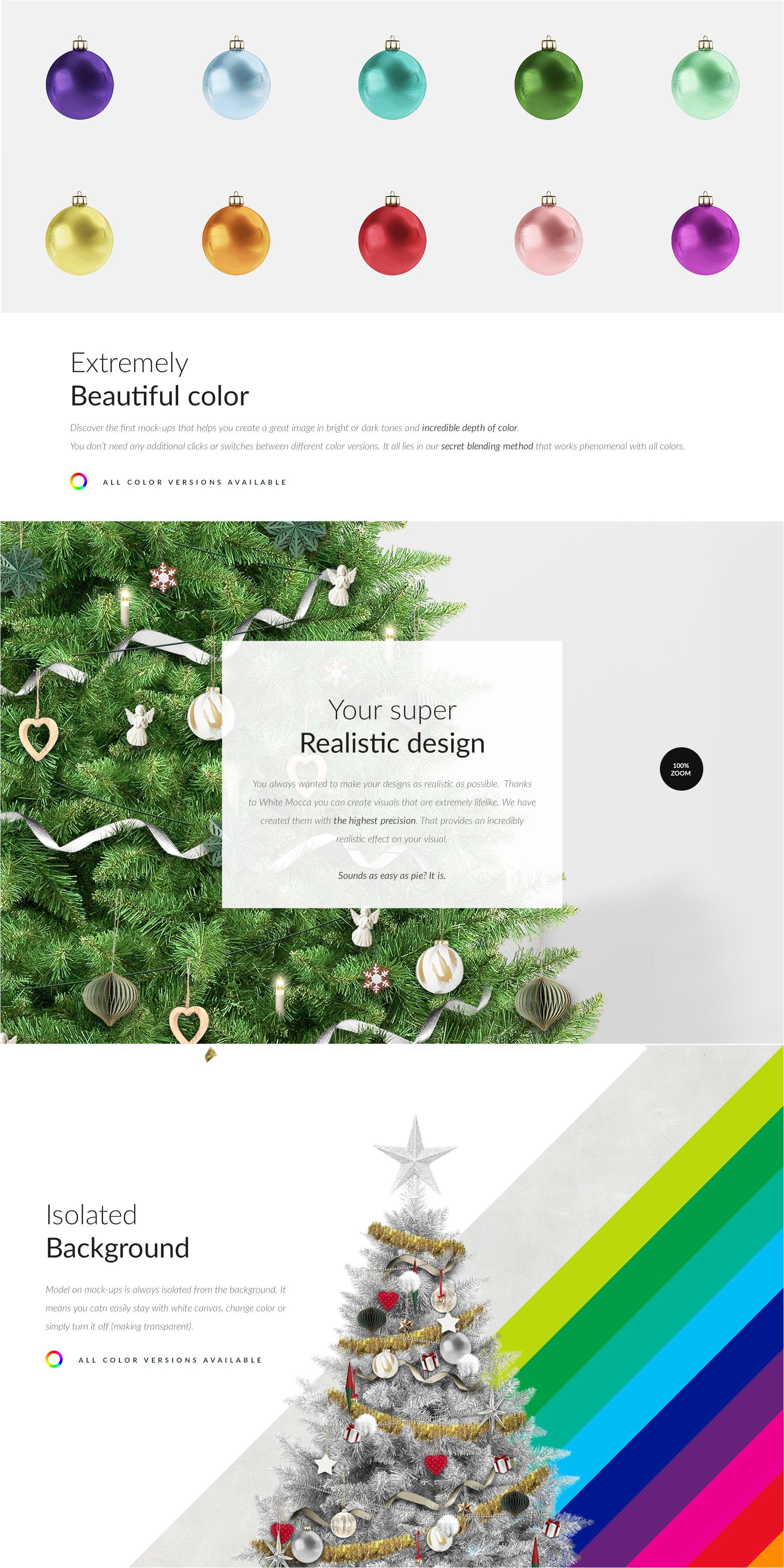 时尚圣诞树场景创造者装饰图案PSD素材 Christmas Tree Creator Mockup插图(4)
