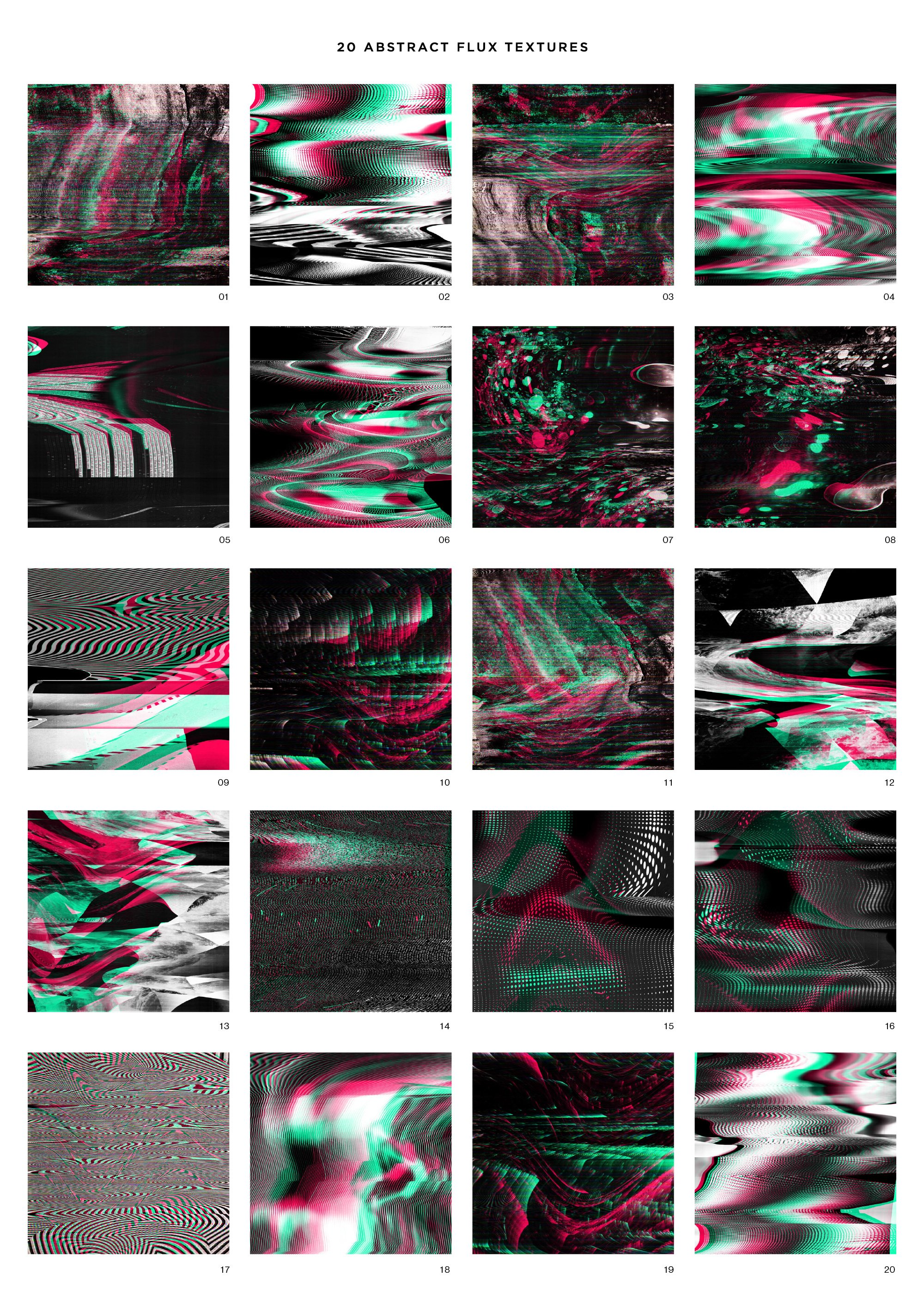 20款抽象高清失真故障海报设计底纹背景图片素材 RuleByArt – Flux Distortion Textures插图5