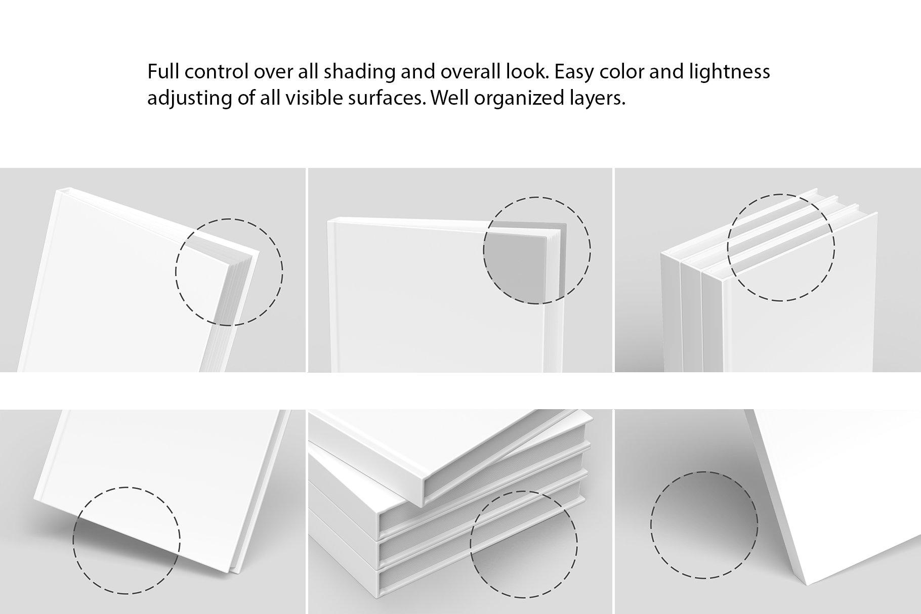 精装书硬皮书画册设计展示贴图样机 Hardcover Book Mockup插图7