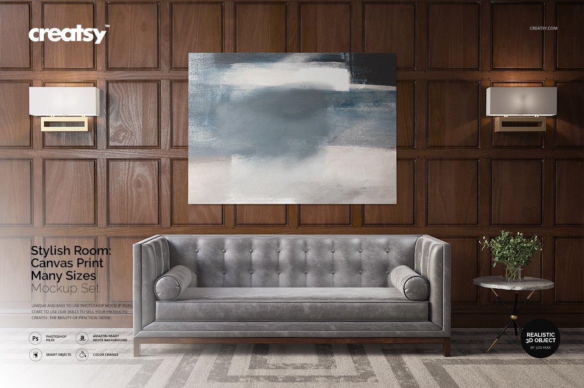 时尚房间室内海报艺术品设计展示贴图样机 Stylish Room Canvas Print Mockup插图