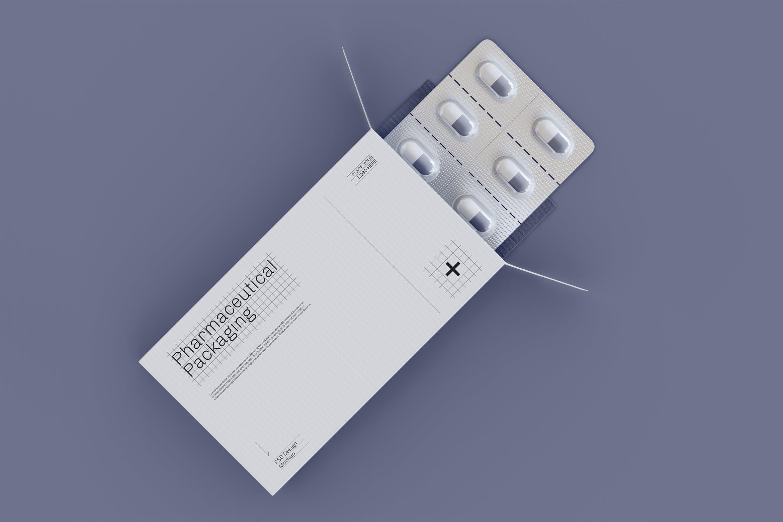 药片胶囊铝塑PVC包装纸盒设计展示贴图样机 Pharmaceutical Packaging Mockup插图