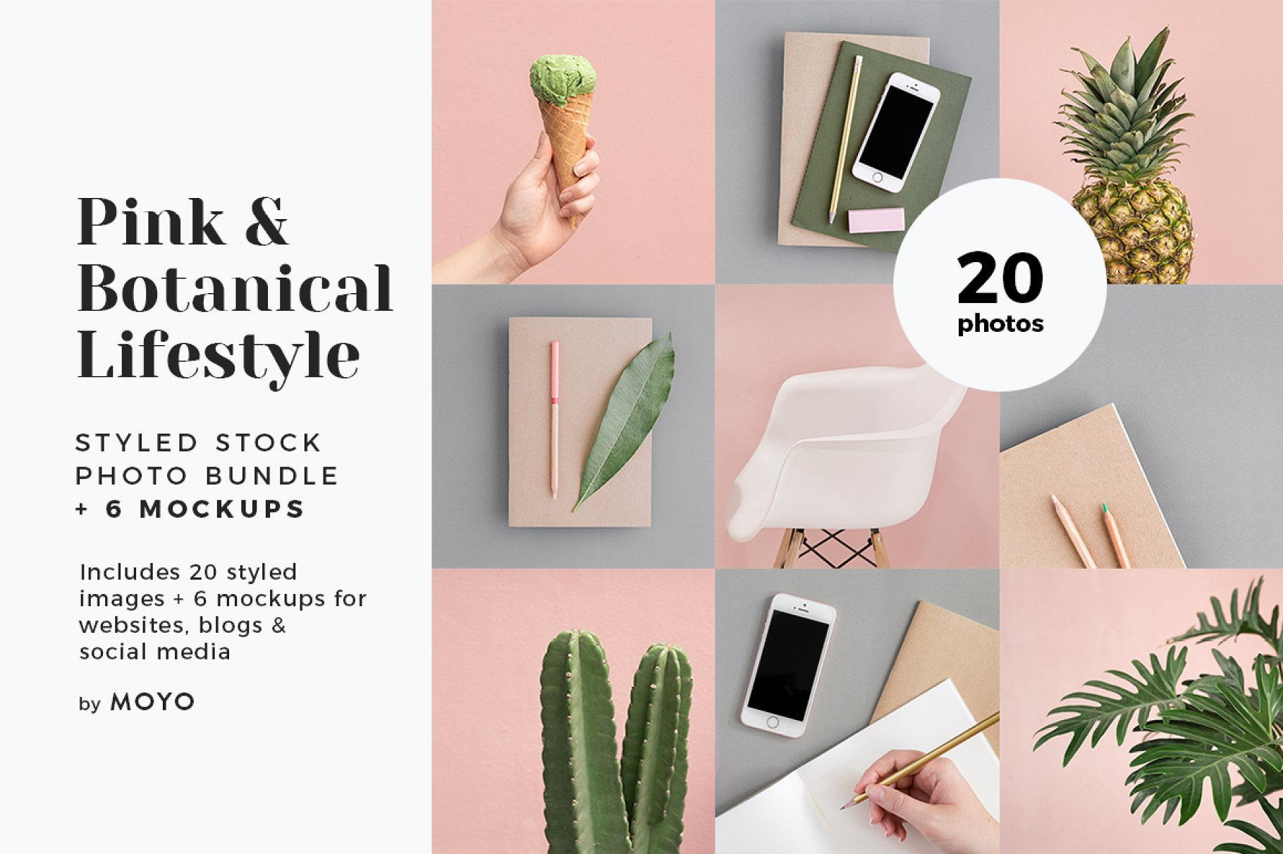 粉色柔和自适应网站界面设计苹果设备屏幕演示样机 Pink & Botanical Stock Photo Bundle插图