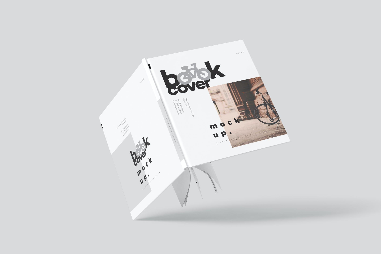 6款悬浮精装书画册设计展示贴图样机模板 Floating Hardcover Book Mockups插图