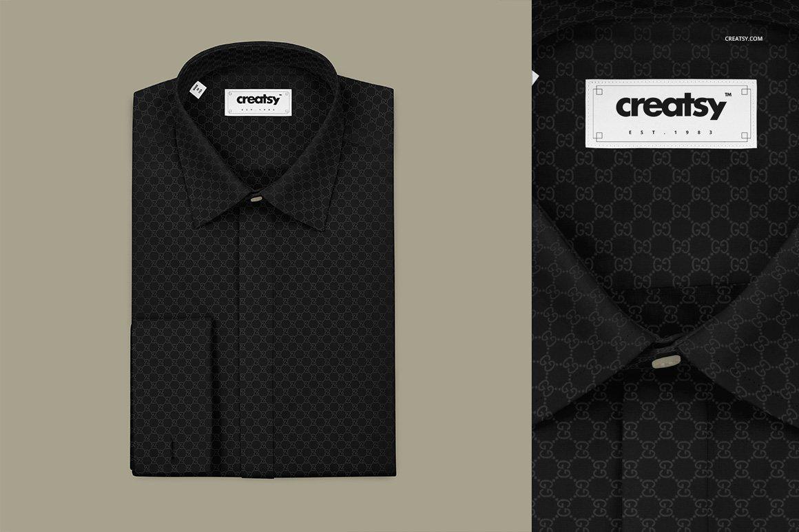 折叠式正装衬衫印花图案设计贴图样机 Folded Formal Dress Shirt Mockup插图(1)