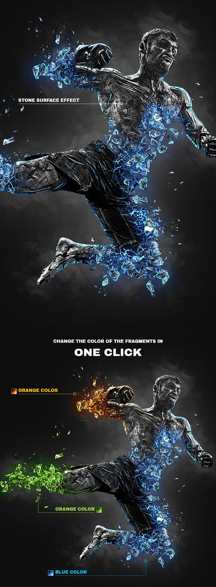 潮流炫酷黑曜石熔岩效果人像处理PS动作 Obsidian Photoshop Action插图2