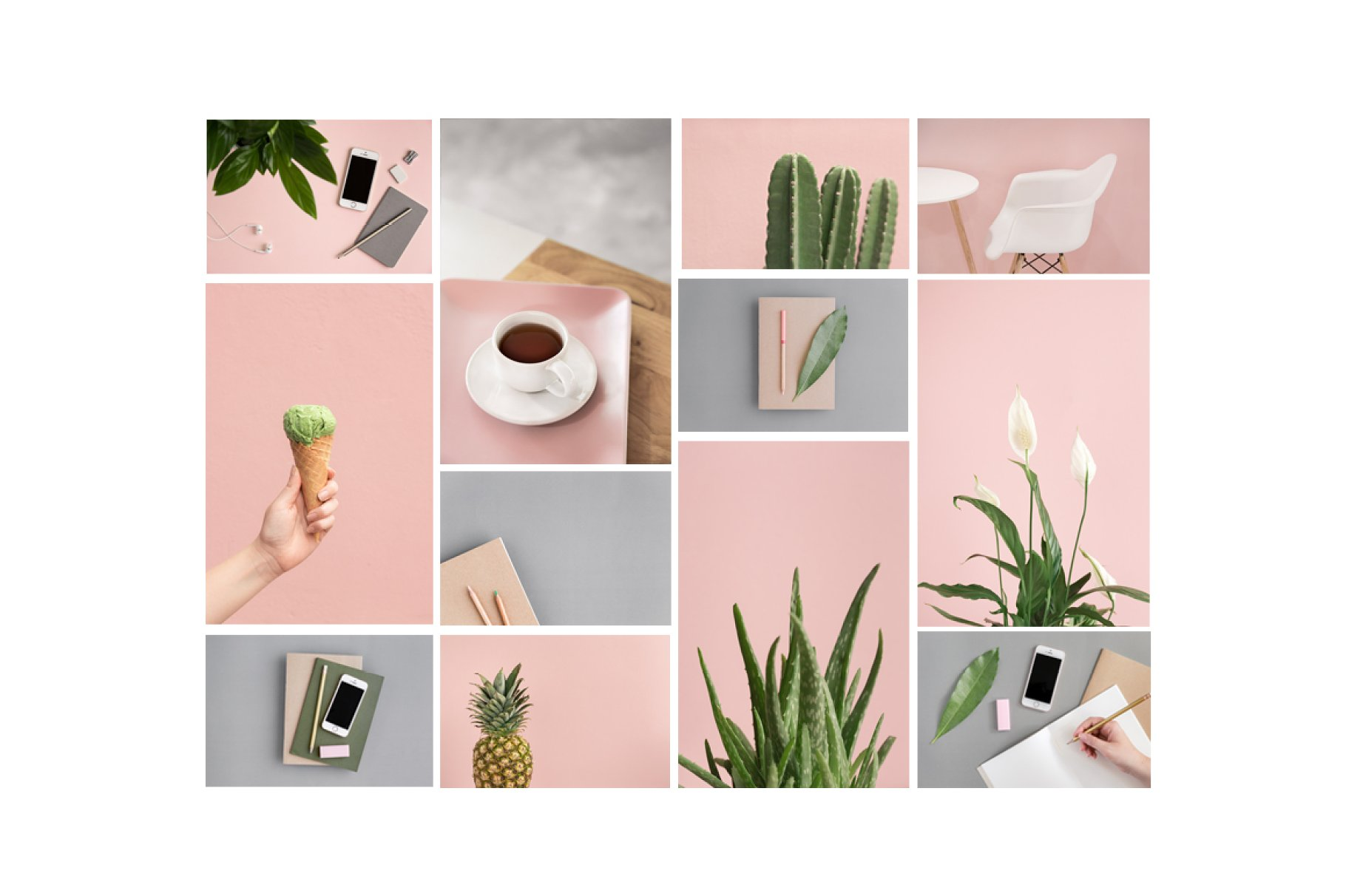 粉色柔和自适应网站界面设计苹果设备屏幕演示样机 Pink & Botanical Stock Photo Bundle插图1