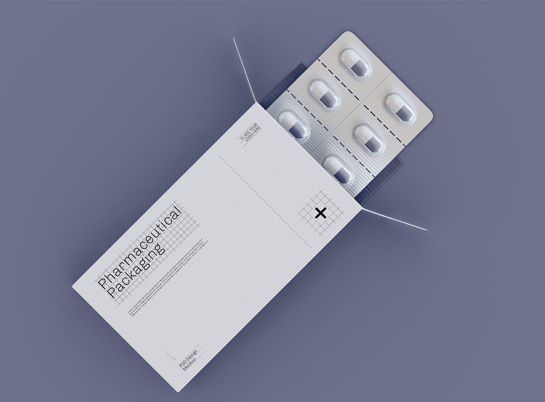 药片胶囊铝塑PVC包装纸盒设计展示贴图样机 Pharmaceutical Packaging Mockup插图(1)