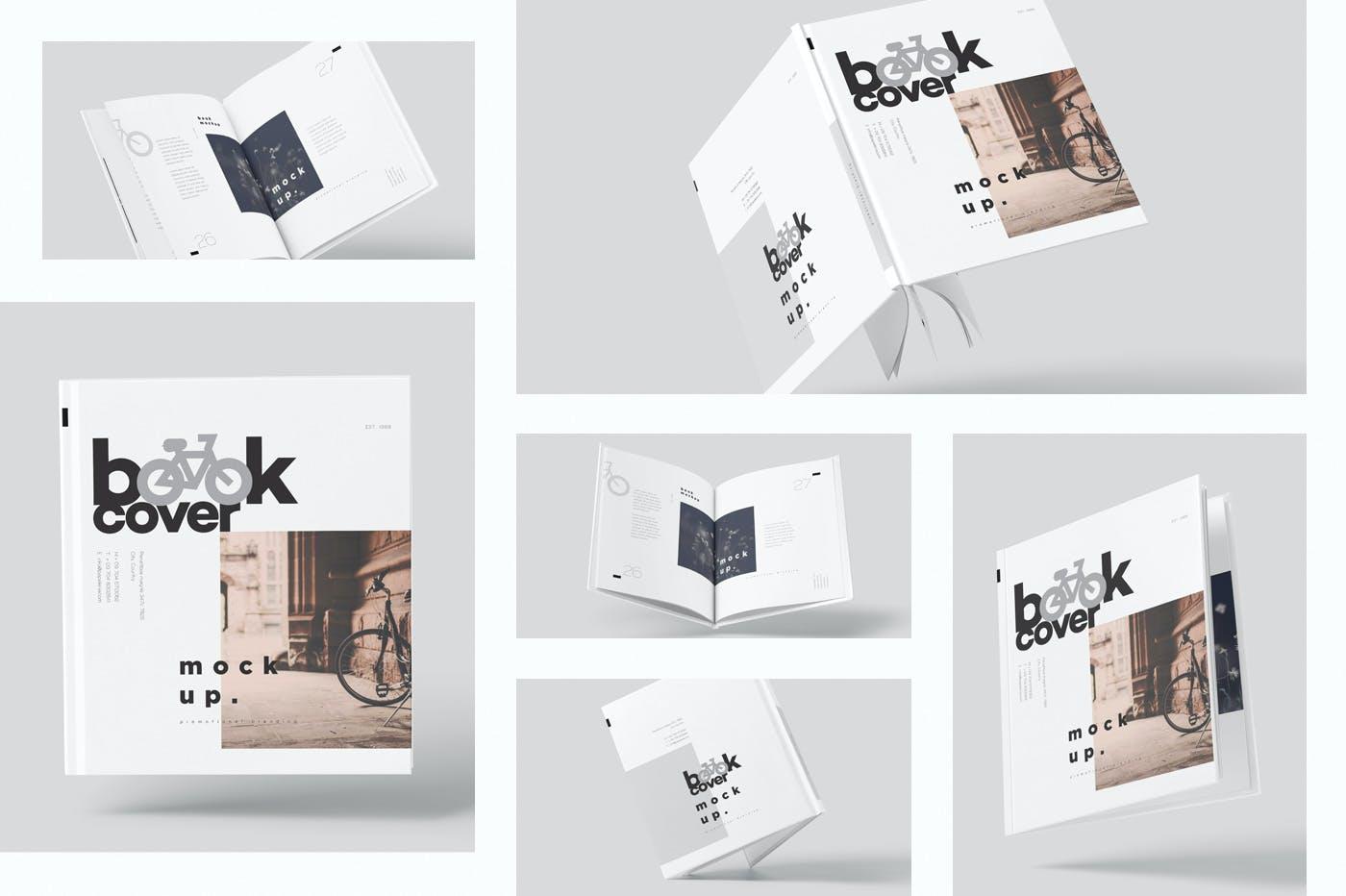 6款悬浮精装书画册设计展示贴图样机模板 Floating Hardcover Book Mockups插图1