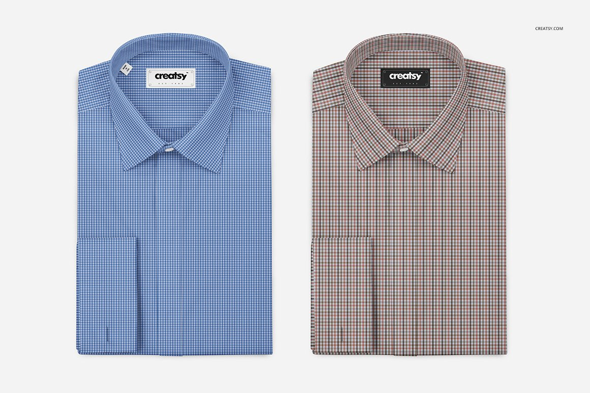 折叠式正装衬衫印花图案设计贴图样机 Folded Formal Dress Shirt Mockup插图(2)