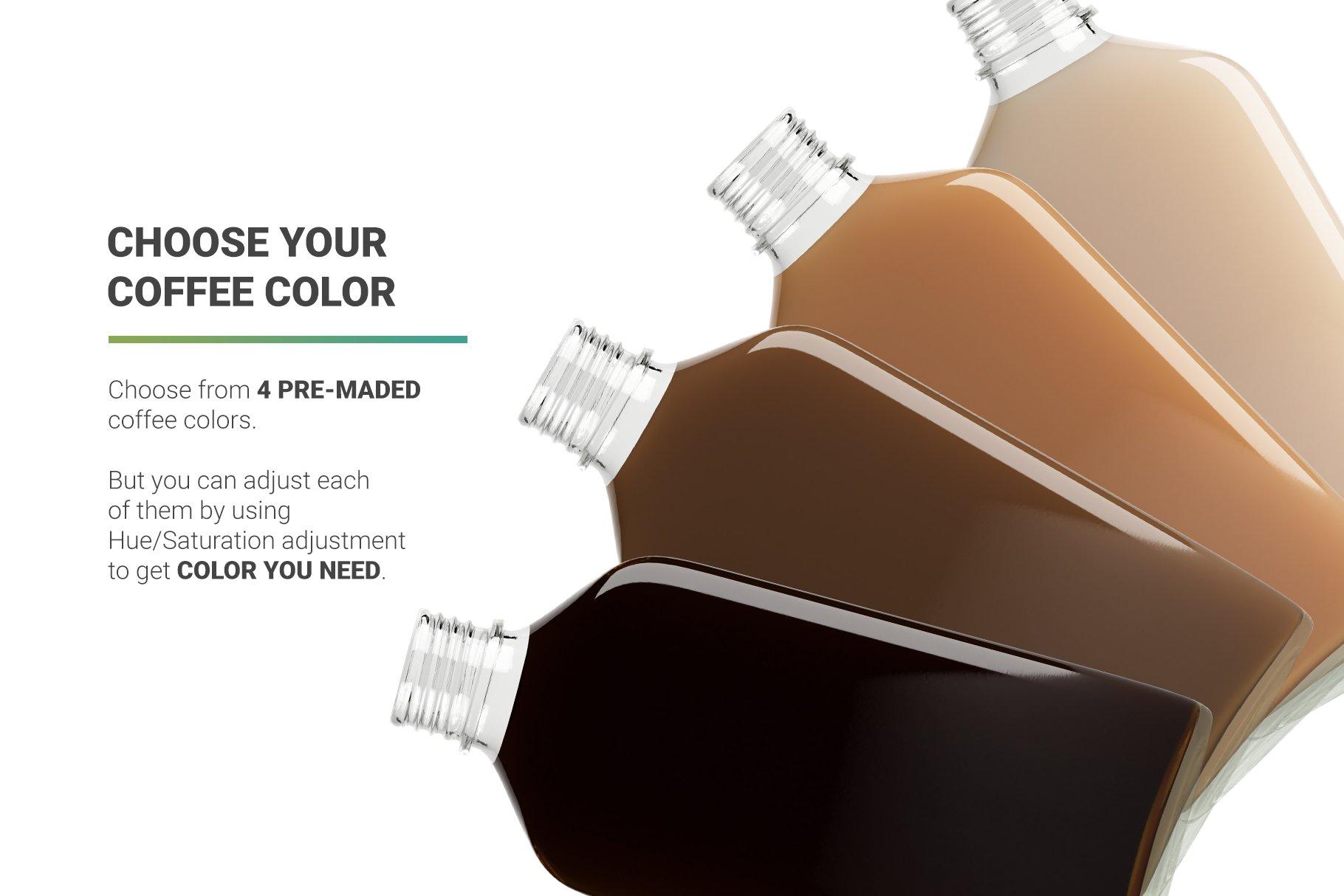冷冲泡咖啡玻璃瓶标签设计展示贴图样机 Coffee Bottle Mockup插图2