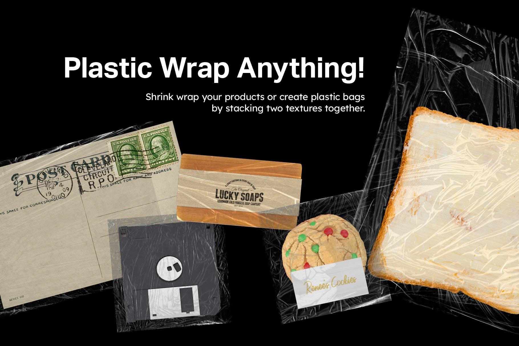 12款潮流褶皱塑料袋保鲜膜背景纹理PNG图片素材 12 Plastic Wrapped Textures插图(2)