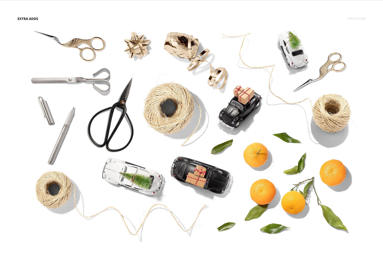 33款时尚礼品包装纸印花图案设计展示贴图样机合集 Gift Wrapping Paper Mockup Bundle插图3