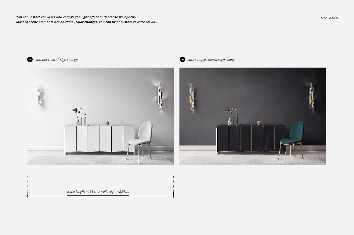 豪华室内装饰画设计展示贴图样机模板 Luxury Console Canvas Print Mockup插图2