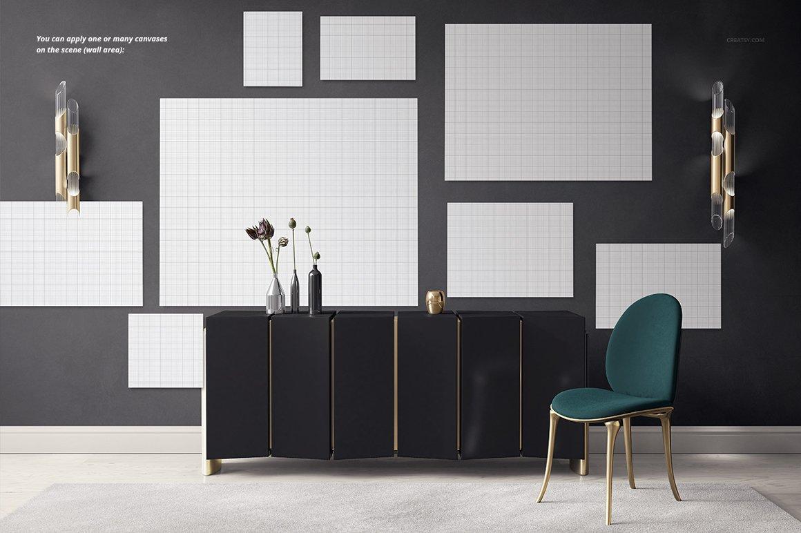 豪华室内装饰画设计展示贴图样机模板 Luxury Console Canvas Print Mockup插图3
