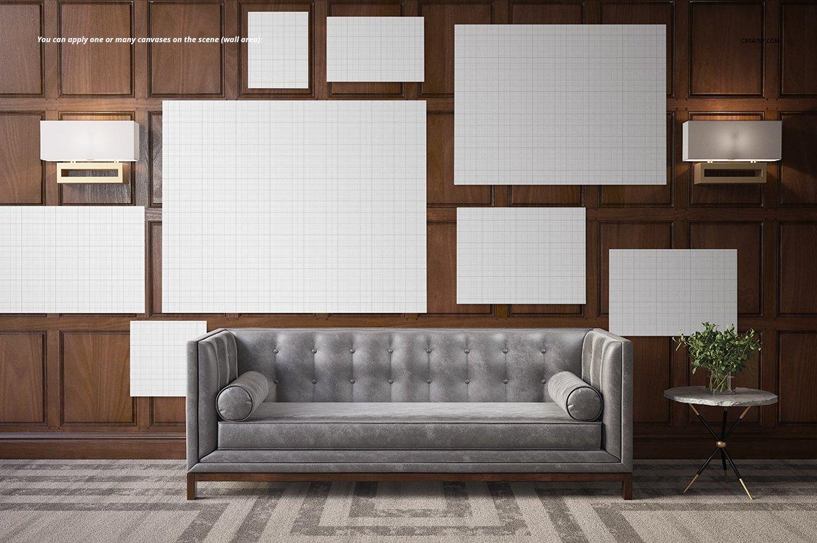 时尚房间室内海报艺术品设计展示贴图样机 Stylish Room Canvas Print Mockup插图3