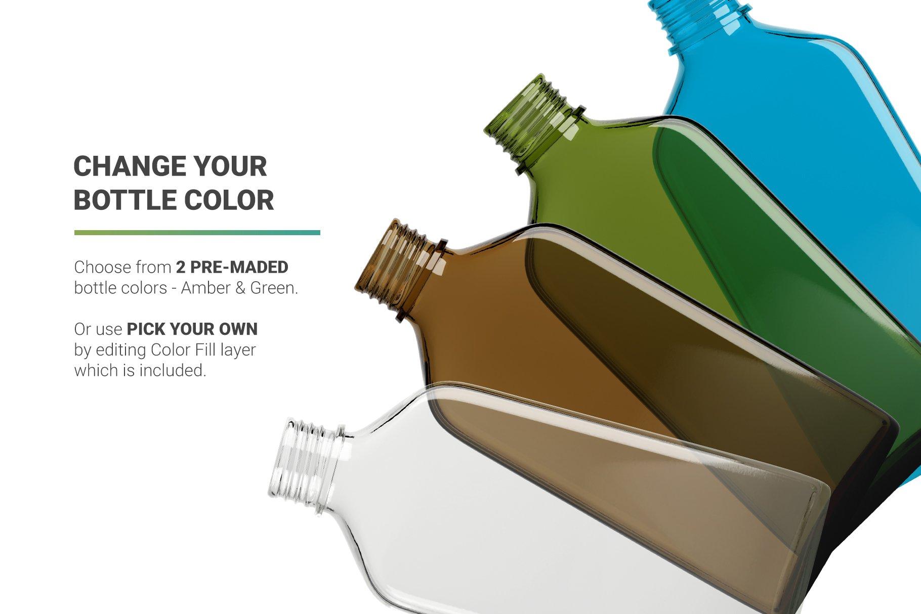 冷冲泡咖啡玻璃瓶标签设计展示贴图样机 Coffee Bottle Mockup插图3