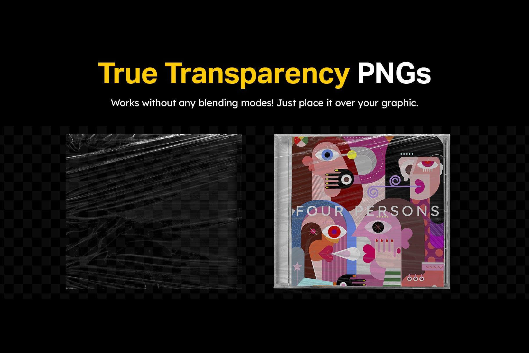 12款潮流褶皱塑料袋保鲜膜背景纹理PNG图片素材 12 Plastic Wrapped Textures插图(3)