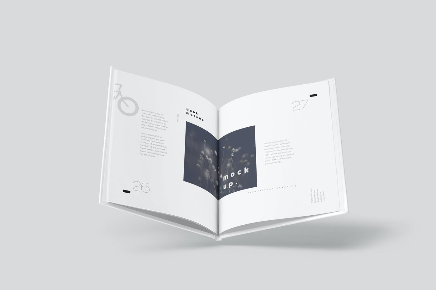 6款悬浮精装书画册设计展示贴图样机模板 Floating Hardcover Book Mockups插图3